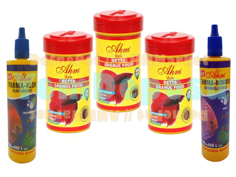 AHM BETTA GRANUL FOOD 3 X 100 ML + FARMA-NİMBUS + ANTİ-KLOR fotograf