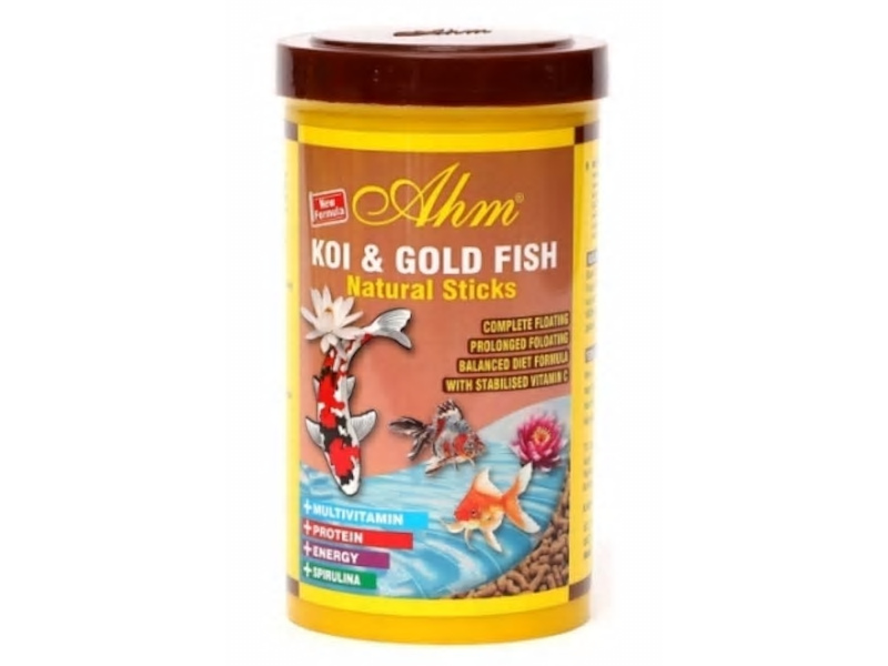 KOI GOLD FISH NATURAL STICKS 1000 ML JAPON BALIK YEMİ fotograf