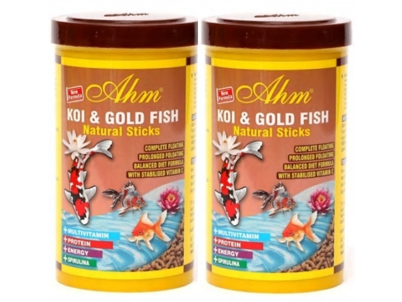 KOI GOLD FISH NATURAL STICKS 2X1LT JAPON BALIK YEMİ fotograf